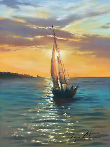 J. Litvinas Original Oil Painting 'YACHT' 6 by 8 inches
