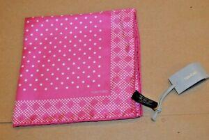 $165 NWT TOM FORD Pink w/ white polka dots men's silk pocket square Italy