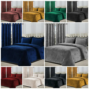 Crushed Velvet Duvet Cover Bedding Set & Matching Eyelet Ring Top Pair Curtains