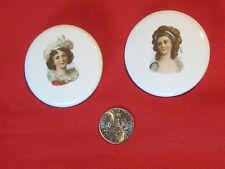 2 porcelain ladies portrait buttons