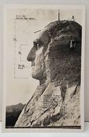 Mt Rushmore NatMonument Showing Proportions, Rise Studio #801 RPPC Postcard C8