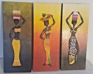 Lot Three 3D Wooden African Women Folk Wall Art Paint Hand Made