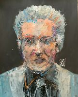 Original Abstract Portrait Christopher Walken Palette Knife Art Painting 11x14