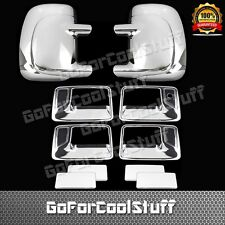 For Ford F-250 1999-2006 4 Door Handle w/o Pskh + Mirror W/O Signal Chrome Cover