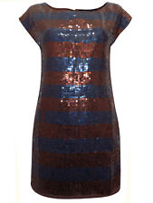 EX FRENCH CONNECTION FCUK BRONZE BLUE LONG LINE SEQUIN PARTY DRESS £195