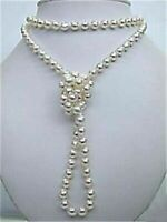 8mm superb south sea white freshwater shell pearl round beads necklace 48 inches