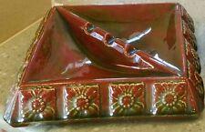 Vintage ASHTRAY Retro Ceramic Square Brown Green Tones Smoker Smoking