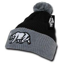 Black Gray California Republic Cali Bear Star Cuff Pom Winter Beanie Beanies Hat