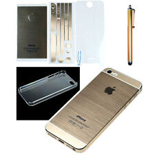 Gold Full Body Wrap Decal Skin Sticker + Stylus + Clear Cover for iPhone 5 5S