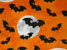 BATS FULL MOON BAT SPOOKY HALLOWEEN ORANGE BLACK COTTON FABRIC FQ
