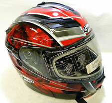 Gmax Gm54S Modular Red/White/Silver Full face helmet clearance 72-6201XS