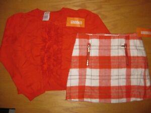 NWT Gymboree Right Meow size 5 Set Orange Cardigan Sweater Orange Plaid Skirt