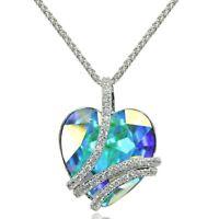 Aurora Borealis Engraved I LOVE YOU Heart Necklace made with Swarovski Crystal