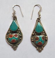 Asian  sterling silver earrings Tibetan Turquoise and coral Tibetan jewelry E3