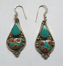 Ethnic sterling silver earrings Tibetan Turquoise and coral Tibetan jewelry E3