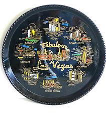"Fabulous Las Vegas NEVADA NV Vintage SOUVENIR Black Plastic TRAY 10.5"" FREE SH"