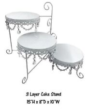 15 Inch - Three Layer Round Metal Cake Stand with Hanging Crystals White