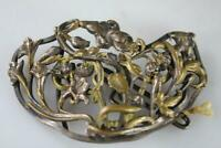ANTIQUE FRENCH ART NOUVEAU SILVER PLATE FLORAL MOTIF LARGE BELT BUCKLE