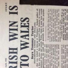 m3h ephemera 1954 football article tommy taylor man utd ireland