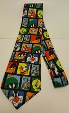 Looney Tunes Stamp Collection Neck Tie Bugs, Daffy ,Tweety , Taz, Etc..