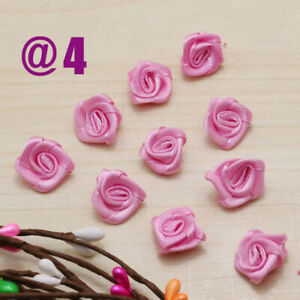 100/200PMini Rose Satin Ribbon Flower Sewing Appliques for DIY Craft  Supplies