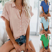 Women's Short Sleeve Button Down Blouse Lapel Shirt Summer Casual Tee Tops