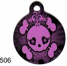 Cute Custom Personalized Pet ID tag for Dog and Cat Collar SKULL BONES ROUND TAG