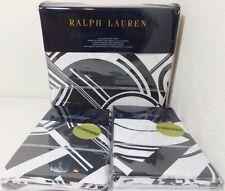"""NEW Ralph Lauren Full/Queen Duvet Cover Set """"ELLINGTON"""" Deco White/Black $690"""