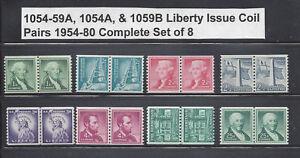 US Scott #1054-1059A, 1054b, & 1059A / Regular Liberty Issue Coil Pairs MNH