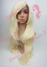 W8 Bleach Blonde Ladies Wig Extra Long Layered Skin Top Wavy studio7-uk