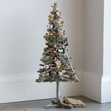Pre-Lit Christmas Tree Wood Pine Branches Cones Silver Baubles Stars 55cm