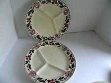 Set of 2 Antique Societe Ceramique Maestricht Holland Divided Grill Plate Tulip