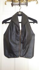 Black Leather Backless Dress Vest Lapeled Waistcoat Gold Zipper Kids' M (11-12)