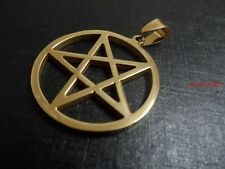 Stainless Steel Gold pentagram satanic symbol of protection Pendant Necklace