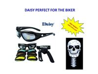 Daisy Motorcycle Harley Googles Glasses - DAISY with Free Mask Skull (F)  CM26
