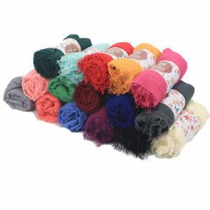 Women Cotton Viscose Maxi Crinkle Cloud Hijab Scarf Shawl Islam Muslim Scarves