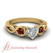 Past Present Future Diamond Ring With Unheated Natural Ruby Gemstone Yellow Gold