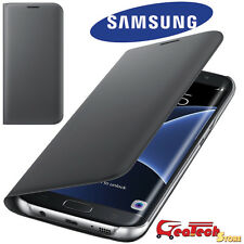 Custodia Flip Wallet Originale Samsung per Galaxy S7 Edge G935F Cover Pelle Nera
