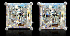 4 ct tw Brilliant Princess Earrings Top AAAA CZ Moissanite Simulant 14 kt Gold W