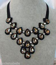 modernissima Collana di Cristallo,girocollo,Collier nastro nero,goccia oro
