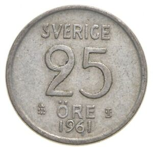 SILVER Roughly the Size of a Quarter 1961 Sweden 25 Ore World Silver Coin *131