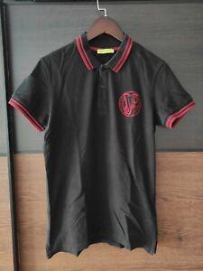Versace Jeans Poloshirt Shirt Kurzarm Logo Original schwarz Gr. EU 50 / L