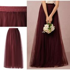 US Women Long Tutu Skirt Tulle Elastic Waist Maxi Ball Petticoat Dress Princess