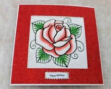 Complete handmade machine embroidered Birthday Card Red Rose