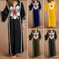 Women High Split Maxi Dress Floral Print V Neck Shirt Dress Kaftan Plus Size