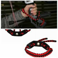 Archery braid compound Paracord Bow Wrist Sling Strap Red with Black Leather