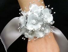 Wedding Silver Flower Wrist Corsage, Prom, Homecoming, Military Ball,Boda,Quince