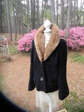 Lovely Black CURLY PERSIAN LAMB & Mink fur coat jacket Bell Sleeve - M/L