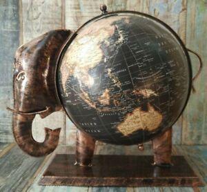 RECYCLED IRON ELEPHANT GLOBE WITH WORLD MAP 27 CM BLACK FINISH FAIR TRADE