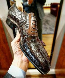 New Handmade Men's Crocodile Embossed Calfskin Leather Oxford Dress Shoes 4 Men